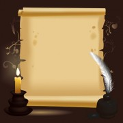 Link toOld paper scrolls and candle design vector 03