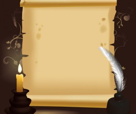 Old Paper Scrolls and candle design vector 03