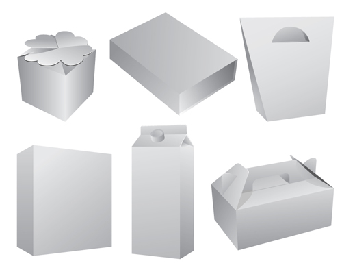 Line Art Box Design : Set of paper packaging box design vector over