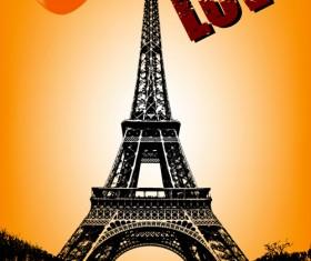 Stylish Paris elements vector set 01