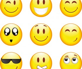 Funny Smile Emoticons vector icon 01