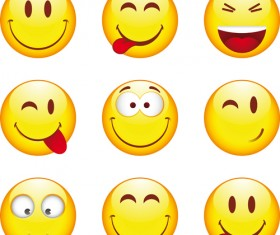 Funny Smile Emoticons vector icon 05