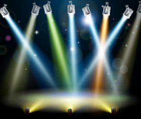 Stage with spotlight effect design vector material 02