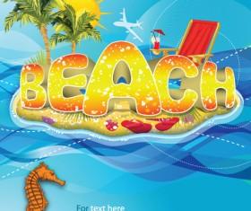 Sunny beach design vector background 02