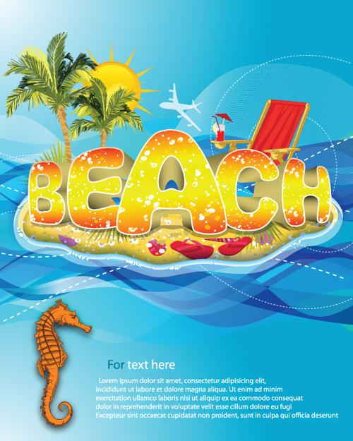 Sunny Beach Design Vector Background 02 Vector