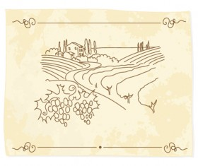 Hand drawn Retro Vineyard elements vector 02