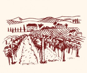 Hand drawn Retro Vineyard elements vector 03