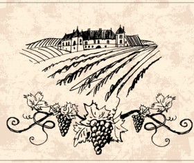 Hand drawn Retro Vineyard elements vector 04