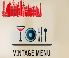 Elements of Vintage Menu cover design vector 04