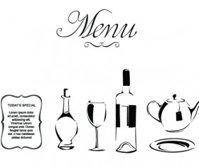 Elements of Vintage Menu cover design vector 05