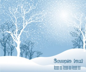 Elements of Winter with Snow backgrounds vector 01