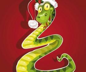 Snake 2013 Christmas design vector graphics 02