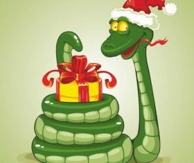 Snake 2013 Christmas design vector graphics 04