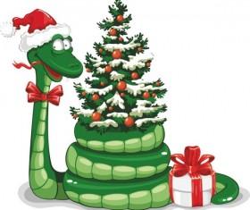 Snake 2013 Christmas design vector graphics 05