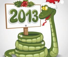 Snake 2013 Christmas design vector graphics 06
