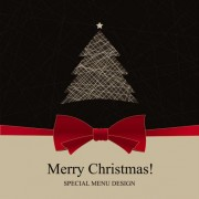 Link toChristmas with bow greeting cards vector 02