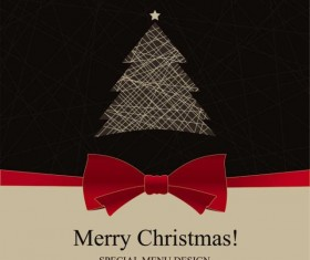 Christmas with Bow Greeting Cards vector 02