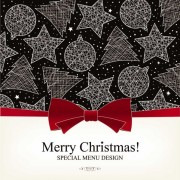 Link toChristmas with bow greeting cards vector 03