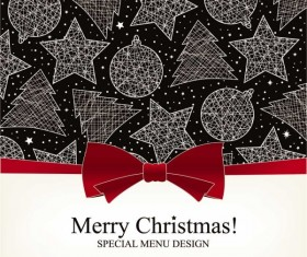 Christmas with Bow Greeting Cards vector 03