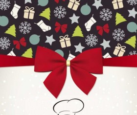 Christmas with Bow Greeting Cards vector 05