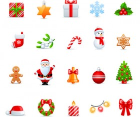 Vivid Christmas icon vector material