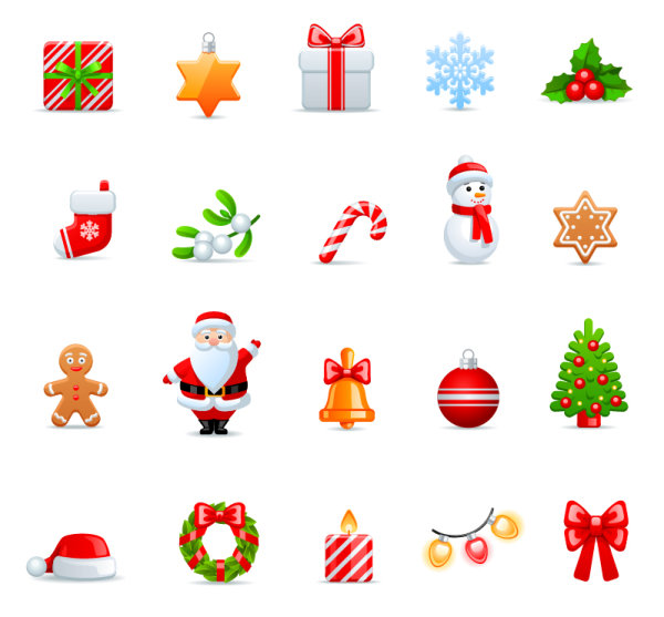 Vivid Christmas icon vector material