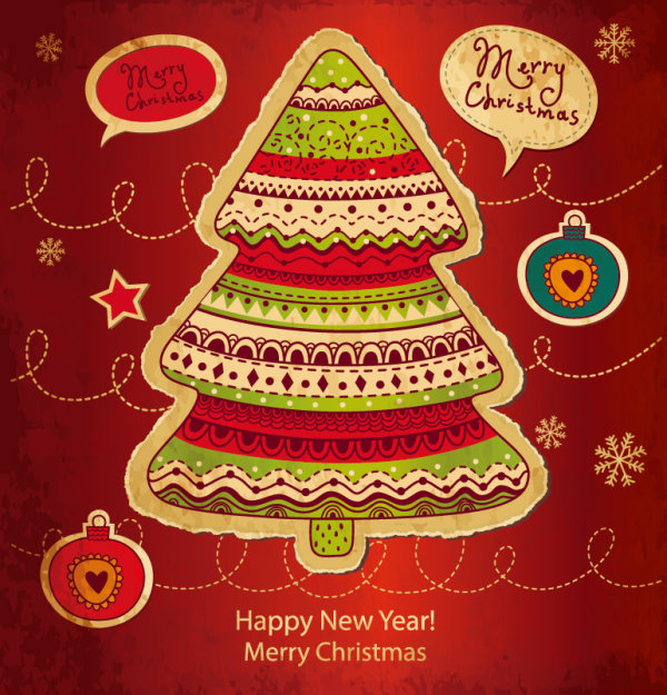 Cartoon Christmas new year cards vector 01