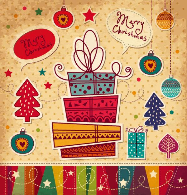 Cartoon Christmas new year cards vector 02