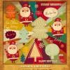 Cartoon Christmas new year cards vector 03