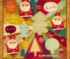 Cartoon Christmas new year cards vector 03