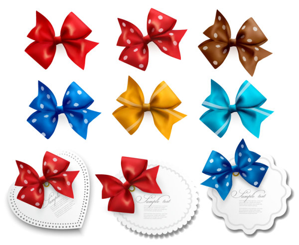 Vivid Bow with Ribbons labels vector 02
