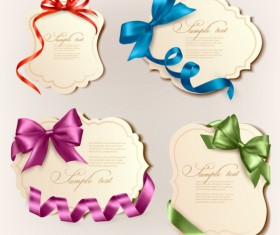Vivid Bow with Ribbons labels vector 03