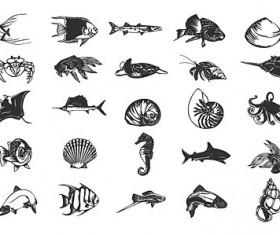 Various Ocean Small animals design vector