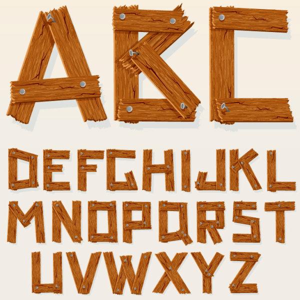 Excellent wooden alphabet design vector 01