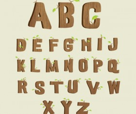 Excellent wooden alphabet design vector 04
