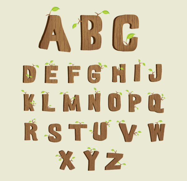 Excellent wooden alphabet design vector 04
