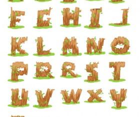 Excellent wooden alphabet design vector 05