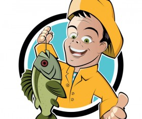 Cartoon of Fishing design vector set 01