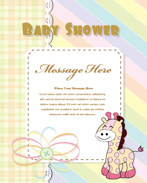 cute baby shower cards vector material set 01