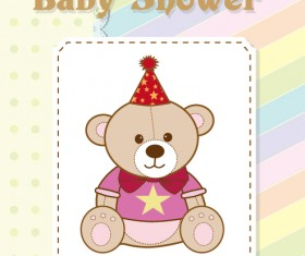 Cute Baby shower cards vector material set 02
