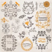 Link toSet of labels and ornaments elements vector 04