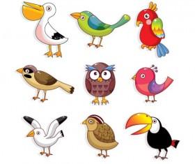 Various Cute Birds vector set 01