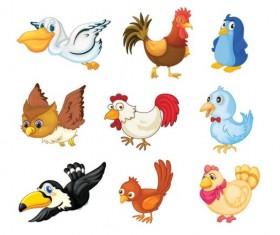 Various Cute Birds vector set 02