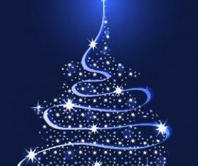 Sparkling Christmas tree design vector 03