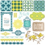 Link toVintage pattern ,lace,label and frames decor vector collection 02