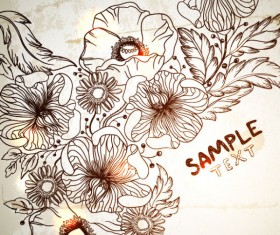 Retro Hand drawn flower vector backgrounds