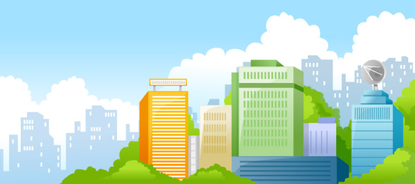 Beautiful city elements vector set 02