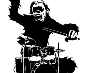 Chimpanzees and drums design vector