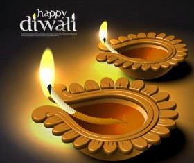 India Diwali elements backgrounds vector 03