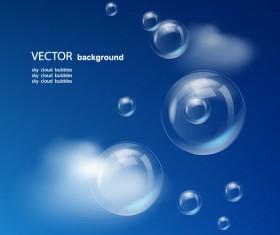 Set of Sky cloud bubbles vector backgrounds 01